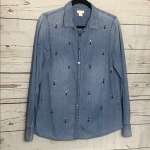 J.crew chambray with crystal detail size 10